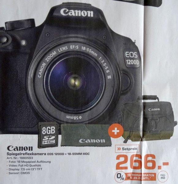 [lokal Saturn Aachen] Canon EOS 1200D + EF-S 18-55mm IIIDC + Tasche + SD 8GB 266€