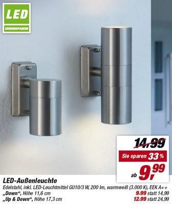 [toom] Edelstahl-Außenleuchte mit zwei GU10- LED -Spots für 12,99 € ab 26.10