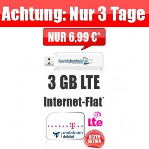 MOBILCOM-Debitel Internet Flat LTE 3000 - Telekom(D1)Netz - 3GB bei 50 Mbit/s für 6,99 € / Monat!Nur Datentarif