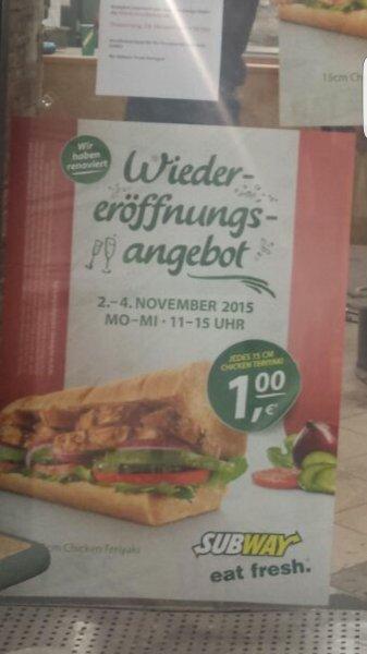 [Stuttgart] 1€ Chicken Teriyaki 2.10.-4.10. am Subway Rothebühlplatz