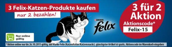 3 für 2 Aktion bei Dehner.de auf Felix Katzenfutter - bis zu 33 % sparen (auch auf reduzierte Ware)