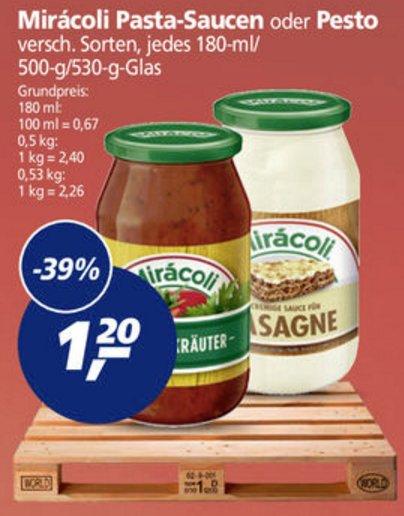 [REAL] Miracoli Pasta Saucen / Pesto 530/500/180ml für 0,20€ (Angebot+Coupon)