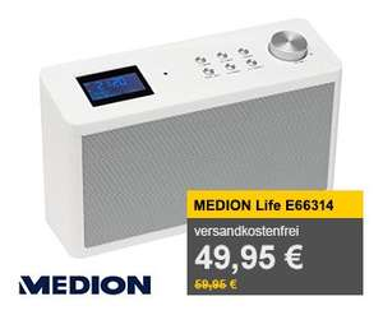 MEDION LIFE E66314 (MD 84954) DAB+ Küchenradio (DAB+ Technologie, PLL UKW Radio, 20 Senderspeicher, 2 x 28 Watt Musikausgangsleistung) weiß für 49,95€ @ Allyouneed