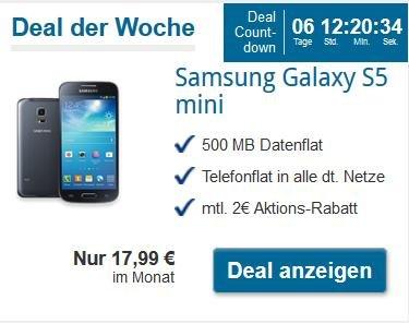 Samsung Galaxy S5 mini mit Otelo Allnet Flat M für 17,99 € mtl. ohne Anschlusspreis bei Toptarif.de