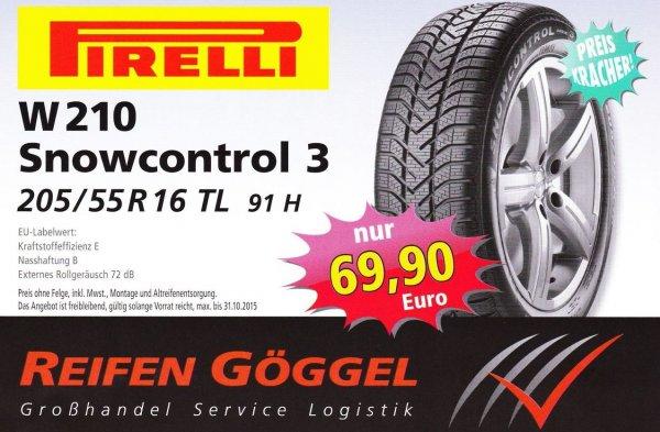 [Lokal Reifen Göggel /Gammertingen 72501] Pirelli Snowcontrol 3 205/55/R16 91H inkl. Montage und Altreifenentsorgung für 69,90€