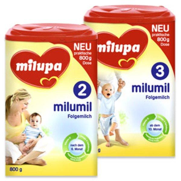 Milupa Milumil Folgemilch 2 und 3 (nach 6. Monat bzw. nach 10. Monat) in jedem Marktkauf in Südbayern 8,99€ statt 9,95€!