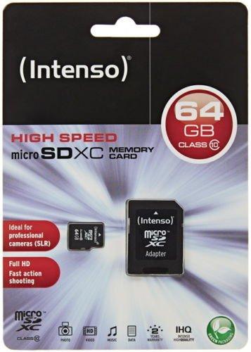 Intenso 64GB Micro SDXC Speicherkarte Class 10 Karte inkl. SDXC Card Adapter ebay 18,99€