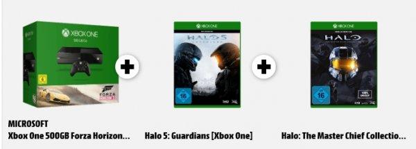 [Mediamarkt] XBoxOne Console 500GB + Forza Horizon 2+ Halo 5 Guardians + Halo:The Master Chief Collection (Beide Spiele als Disc) für 349,-€