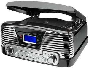 Dual NR 6 Nostalgie-Komplettsystem (UKW-Radio, Plattenspieler, Direct-Encoding, CD/MP3-Player, USB, SD-Card, Fernbedienung) schwarz @ Conrad