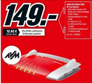 [Lokal Mediamarkt Kassel] Ab 29.10 ....AVM WLAN Router mit Modem FRITZ!Box 7490 Integriertes Modem: ADSL, ADSL2+, VDSL 2.4 GHz, 5 GHz 1750 für 149,-€