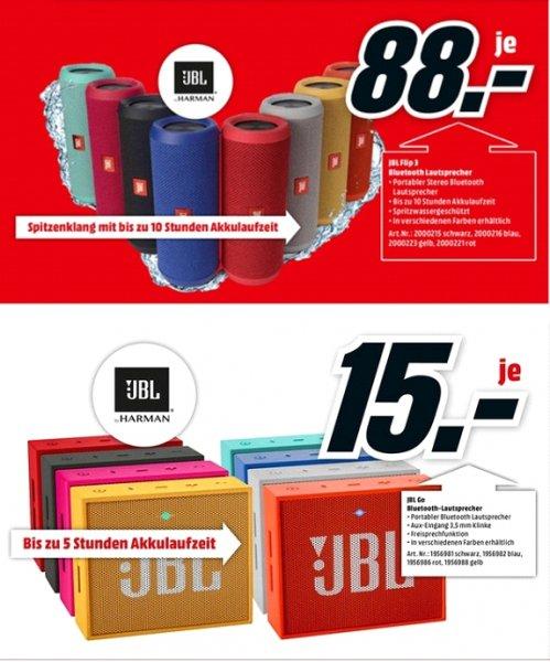 [Lokal Mediamarkt Kassel] Ab 29.10....JBL Flip3 Bluetooth Lautsprecher alle Farben für je 88,-€****JBL Go Mobiler Bluetooth Lautsprecher alle Farben für je 15,-€