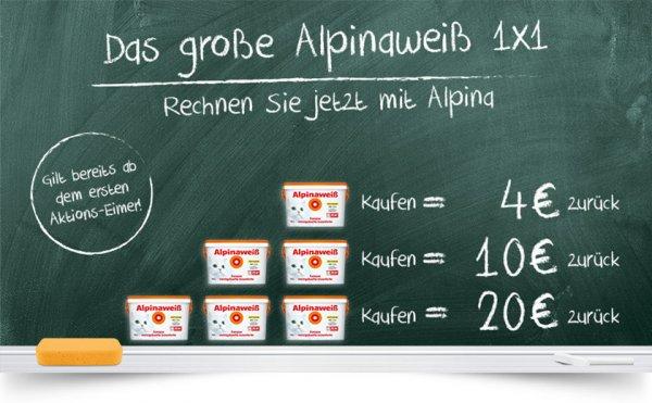 8l Alpinaweiß bei Hagebau zur Zeit 29,95€ + 1x1 Alpina - Aktion: 1x Kaufen 4€ | 2x Kaufen 10€ | 3x Kaufen 20€ zurück nach Einsendung des Kassenbelegs und des Deckeletiketts.