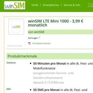 WINSIM 3,99€ LTE Mini 1000 50min / 50sms 1GB LTE (UPDATE)