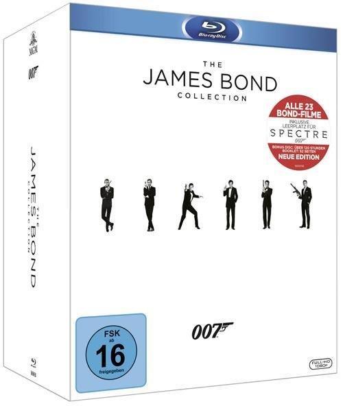 The James Bond Collection inkl. Leerplatz Spectre & Bonus Disc & 52-seitiges Booklet (24 Discs) [Blu-ray] inkl. Vsk für 109,19 € > [Buch.de]