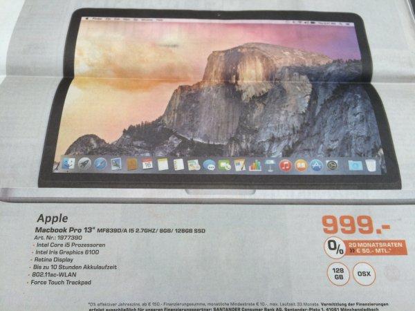 "[Saturn: Köln] Macbook Pro 13"" Retina 8GB/128SSD für 999 Euro"
