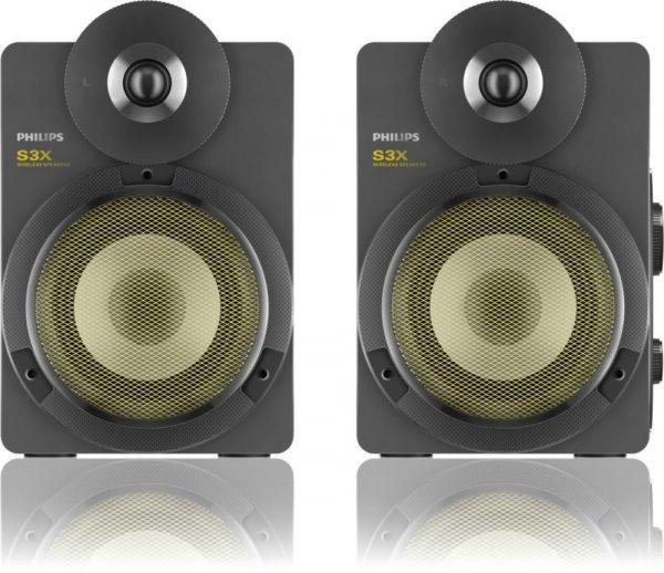 [Digitalo] Philips BTS3000G/10 S3X Kabellose Studio-Lautsprecher mit Bluetooth (30 W RMS, aptX, AAC, Bassreflex-System), grau