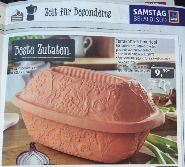 """Terrakotta Schmortopf (vergleichbar mit """"Römertopf"""") für 9,99 € bei Aldi Süd"""