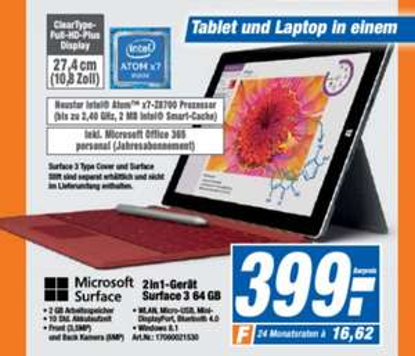 [Lokal Expert] Surface 3 (2GB RAM, 64GB eMMC) für 399€