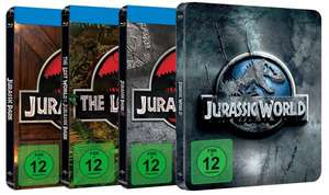 4 Steelbooks - Jurassic Park 1-3 + Jurassic World (Blu-ray) @ Media-Dealer