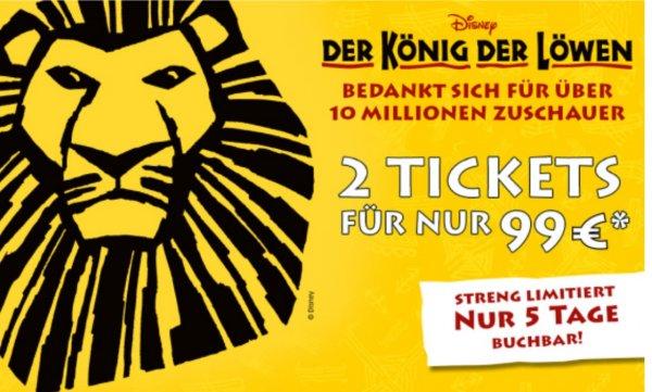 [ticketonline.de] König der Löwen Musical für 2x Personen 179€ Kategorie 1
