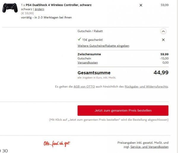 PS4 Controller für 44,99€ bei Otto (nur für Neukunden?)