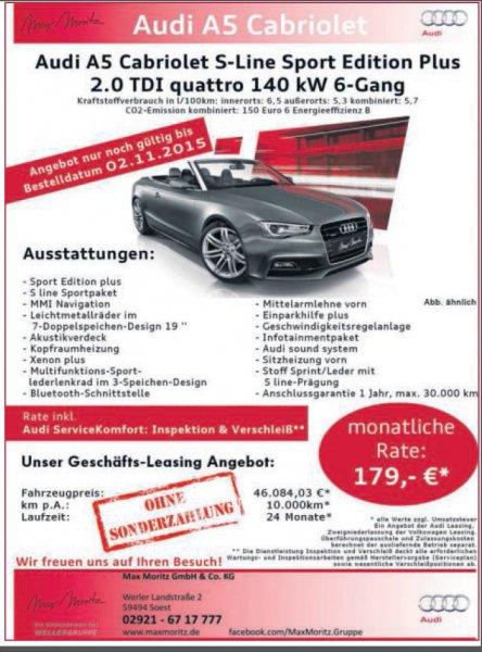 Audi A5 Cabriolet 2.0TDi quattro 190ps leasing nur 179€ netto monatlich ohne Anzahlung für Gewerbetreibende