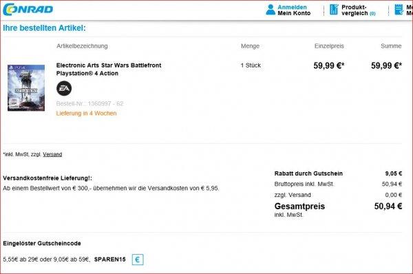 [conrad.de] Star Wars Battlefront (PS4) für 50,94 Euro