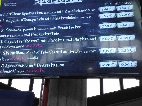 Apfelkuchen umsonst Mensa Mainz Uni