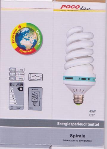 45 Watt Energiesparleuchtmittel (entspricht 225W) bei Poco Domäne (Mannheim, lokal?) (E27, 2500l, 2700k, 8000h, Spirale)