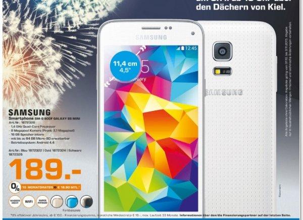 [Lokal Saturn Kiel] Samsung Galaxy S5 Mini in Blau,Gold und Schwarz für je 189,-€