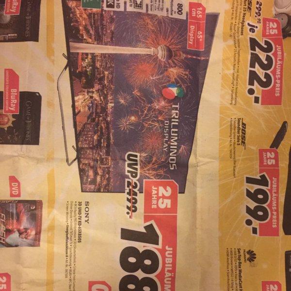 [Lokal Berlin Medimax] SONY 3D-UHD-TV KD-65X8505 für 1888€