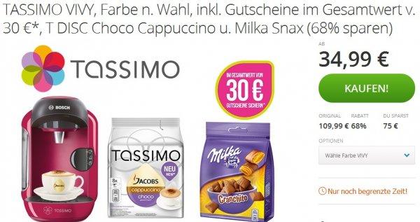 [Groupon] TASSIMO VIVY, Farbe n. Wahl, inkl. Gutscheine  30 €*, T DISC Choco Cappuccino u. Milka Snax 34,99€
