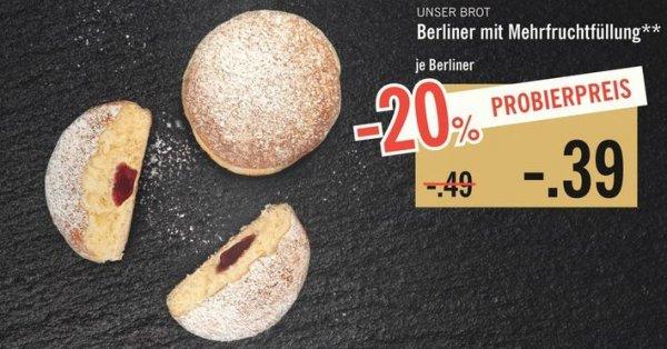 [Lidl ab 2.11.] Berliner (Pfannkuchen) für 39 Cent