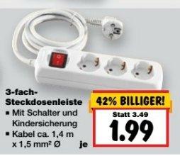 [Kaufland] 3Fach Steckdosenleiste mit Schalter und Kindersicherung für 1,99€