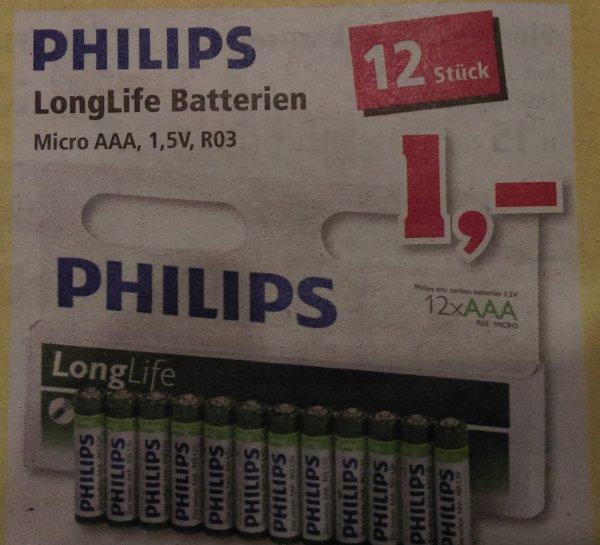 Thomas Philipps Philips AAA Longlife Batterien 12 Stück 1 Euro ab 02.11.2015