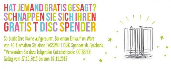 Tassimo 40€ Einkaufswert = Tassimo T Disc Spender gratis!