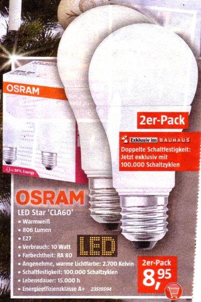 Bauhaus: Zweierpack Osram LED Star Classic A 60 für 8,95 Euro