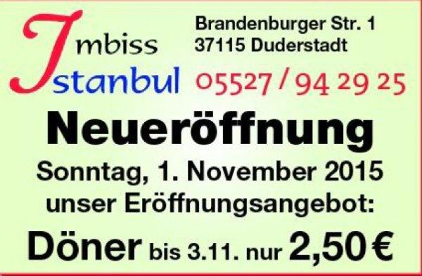Lokal Duderstadt Döner für 2,50 Euro - Neueröffnung Imbiss Istanbul