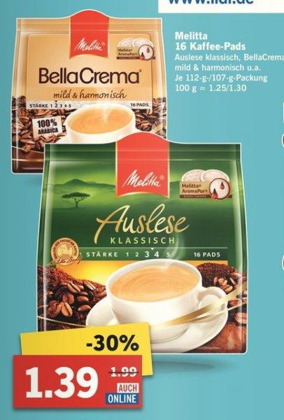 [Lidl] Melitta 16 Kaffee Pads für zB Senseo für 1,39 bis Samstag 07.11