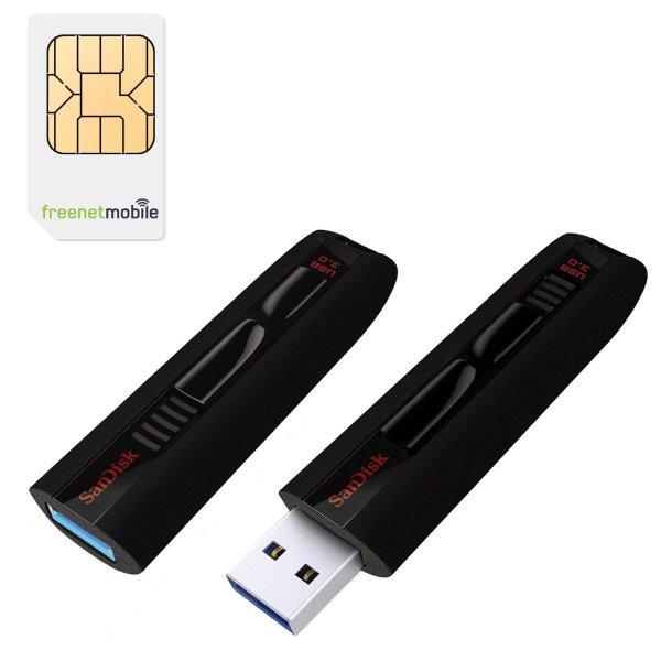 freenetMobile DUO SIM-Karten mit Sandisk Extreme USB 3.0 64GB für 3,90€