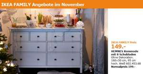(Ikea Hannover) Hemnes Kommode mit 8 Schubladen für 149€ anstatt 199€ nur für Ikea Family Mitglieder