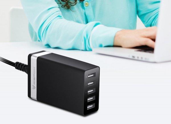 40W 5-Port High Speed Desktop-USB-Ladegerät mit intelligenter IC Lade-Technologie, tragbares Reise-Ladegerät (schwarz)