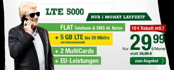 5 GB LTE inkl. Allnetflat / 29,99 mtl. / Mtl. kündbar / o2-Netz [smartmobil.de]