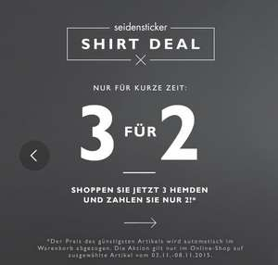 [Seidensticker] 3 für 2 auf Hemden + 10€ Newsletter Gutschein, z.B. 3 Hemden für jew. 23,61€ statt 39,95€, VSK: 0,95€