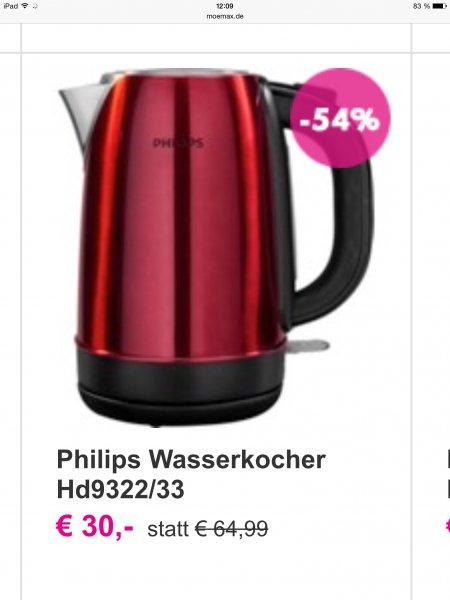 Gute Wasserkocher Angebote bei MÖMAX: z.B.Philips Wasserkocher HD9322/33 bei MÖMAX für 30€ statt 64,99€ , Moulinex Subito für 20€ statt 39,99€