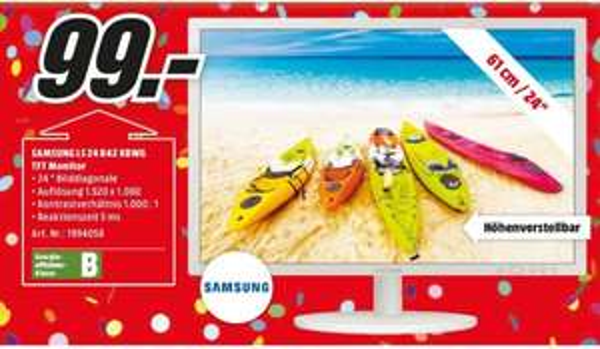 [Lokal Mediamarkt Köln City am Dom] Samsung S24B420BW 61 cm (24 Zoll) LED-Monitor (VGA, DVI, 5ms Reaktionszeit) grau für 99,-€
