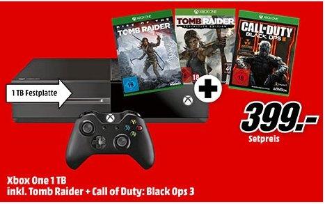 [Mediamarkt Bundesweit Ab sofort Online] Microsoft Xbox One 1TB + Rise of Tomb Raider + Tomb Raider: Definitive Edition + Call of Duty Black Ops 3 für 399,-€