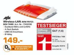 [Lokal Saturn Bochum und Bad Homburg] AVM FRITZBOX 7490 Wireless N Router/Modem 1300 Mbps 4-Port 100/1000 ADSL VDSL für 149,-€