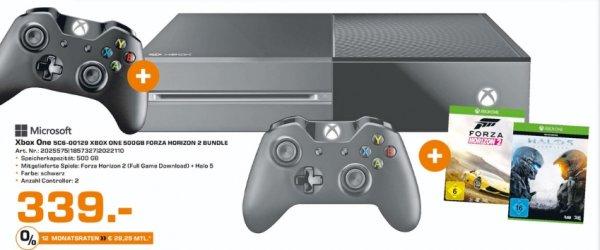 [Lokal Saturn Osnabrück] Xbox One 500 GB mit 2 Controllern + Forza Horizon 2 & Halo 5 für 339,-€