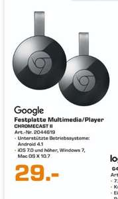 [Lokal Satun Bad Homburg) Google Chromecast 2, Streaming-Mediaplayer, Wireless Lan, HDMI, USB  für 29,-€